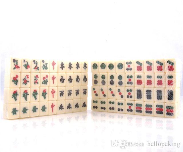 Ensemble De 144 Carreaux Mah-Jong Finition Rouge Ou Vert Cuir Fleurs De Fleurs En Bois Oiseaux Boîte En Bois