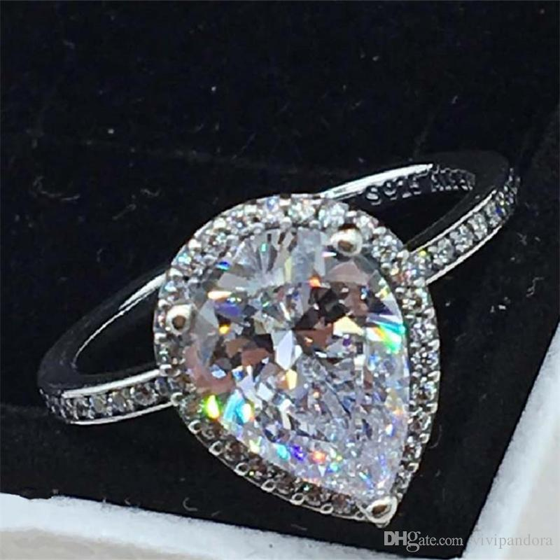 5560b6f51 2019 Women Ring 925 Sterling Silver European Pandora Style Charm Jewelry Radiant  Teardrop Ring With Clear Cz From Vivipandora, $17.64 | DHgate.Com
