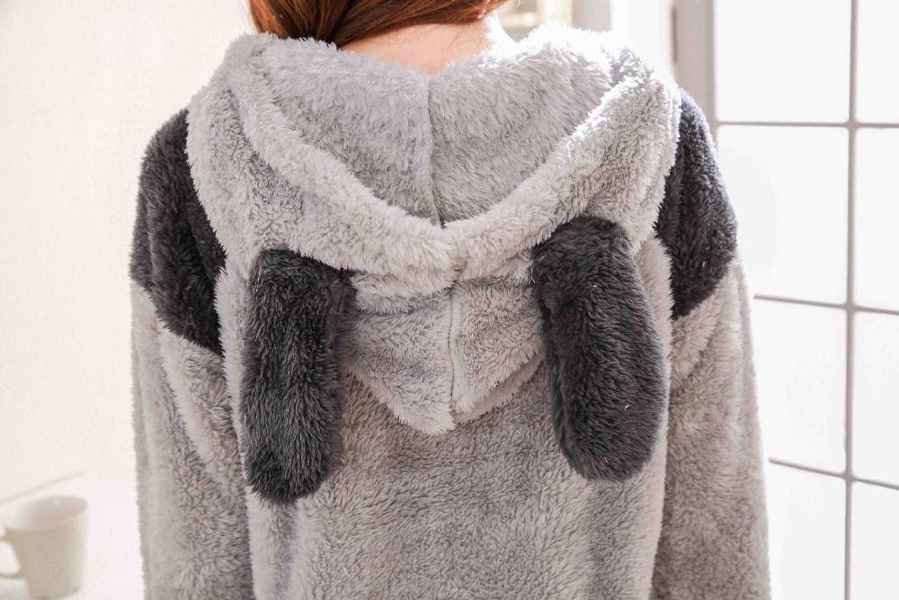 2017 Winter Totoro Couple Pajama Sets Animal Warm Sleepwear For Women/Men Coral fleece cartoon cosplay costume 102107