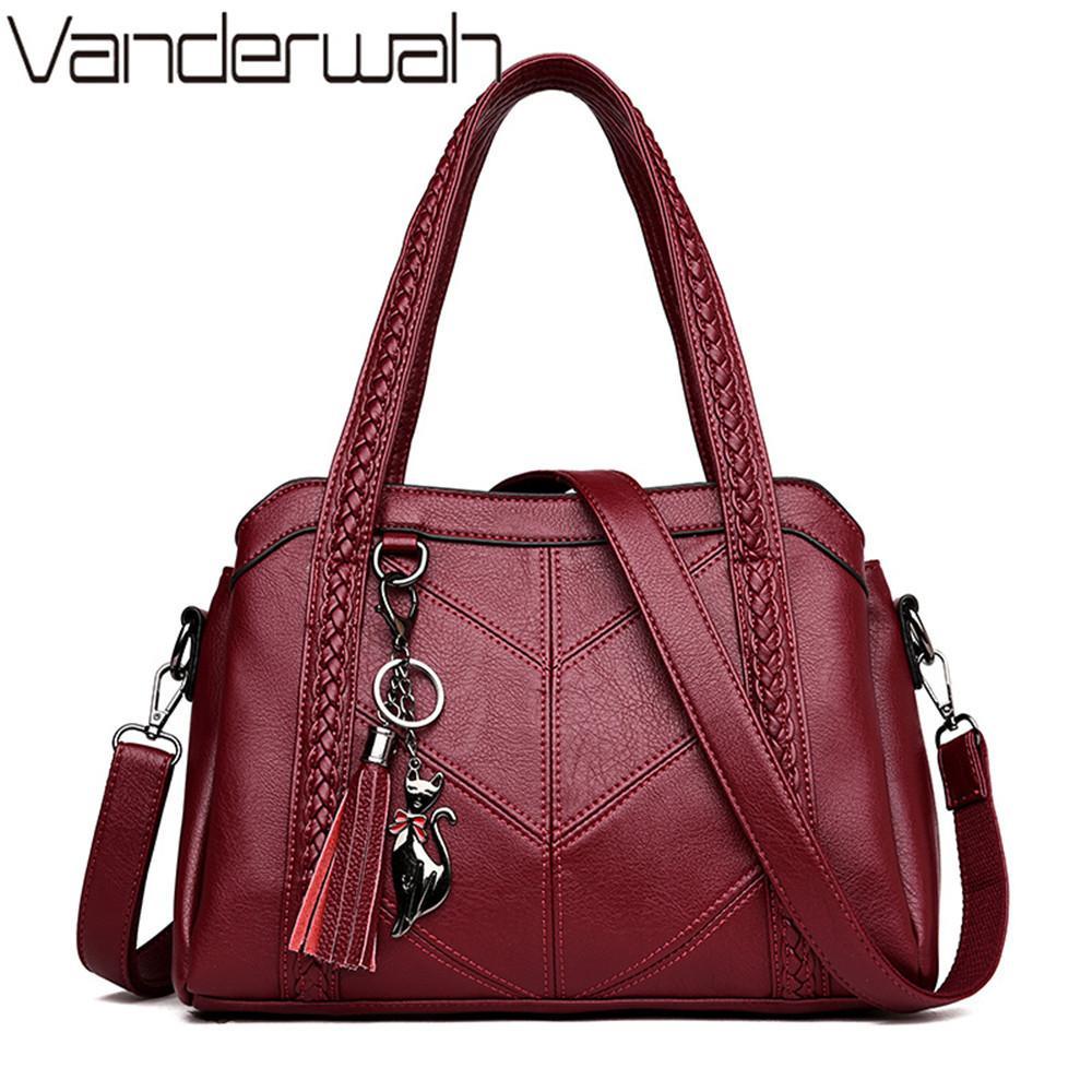 98b63680322 2019 Fashion 3 Large capacity pocket Tassel Tote Luxury Spiraea Women  Shoulder Messenger Bags Designer High Quality Leather Handbag Cute Cat
