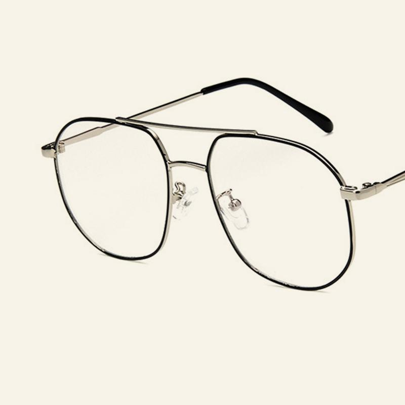 10fd57fca9 2019 2018 New Fashion Metal Trend Glasses Frame Personality Double Beam Box Glasses  Frame Men And Women Retro Flat Mirror.
