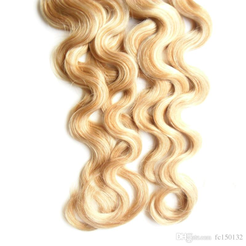 Color of P27/613 Virgin Malaysian Body Wave hair Loop Micro Ring Hair 200g 100% Human Micro Bead Links Machine Made Remy Hair Extension