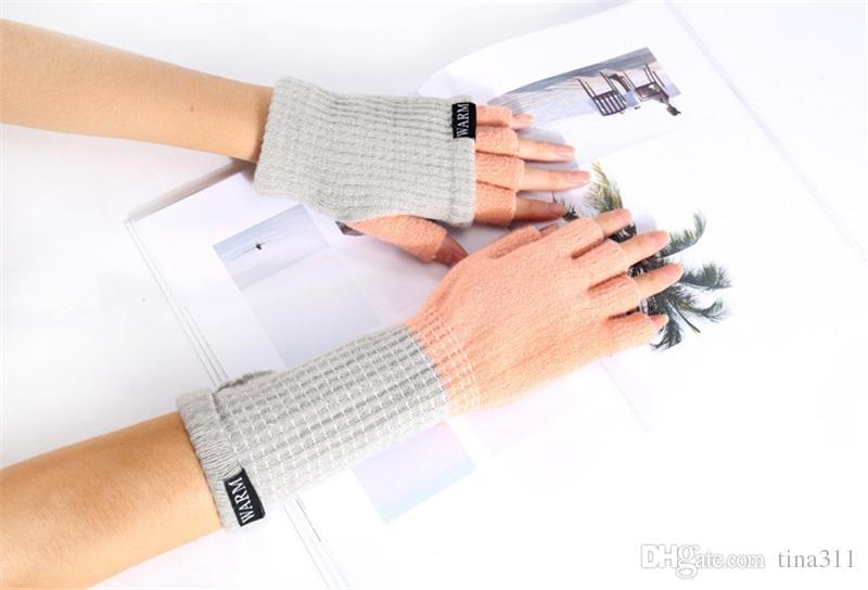High quality Winter Unisex Arm Warmer Elbow Long Fingerless Mitten Knitted Soft Gloves T2C044