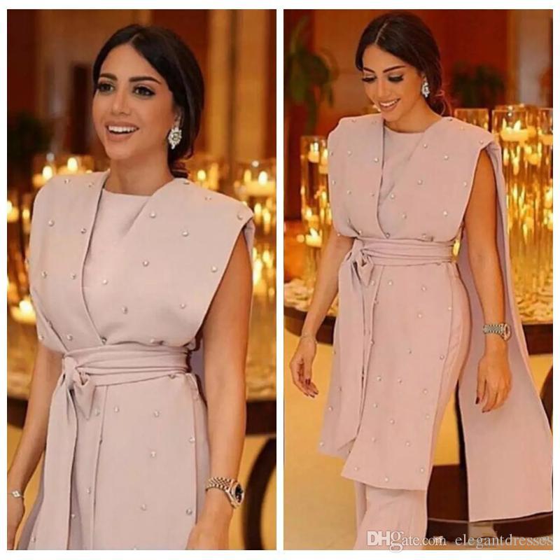 Abiti da sera rosa formale Abiti da sera senza maniche Cape Beaded Sashes Tuta perle perle perline 2021 Modern Arabo Dubai Suit Formal Suit Party Prom Gowns