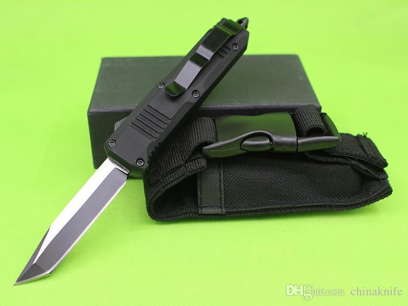 Mango negro de Allvin 7 pulgadas Mini C07 Auto Táctico Cuchillo Táctico 440C Single Edge Tanto Blade Fine EDC Cuchillos de bolsillo