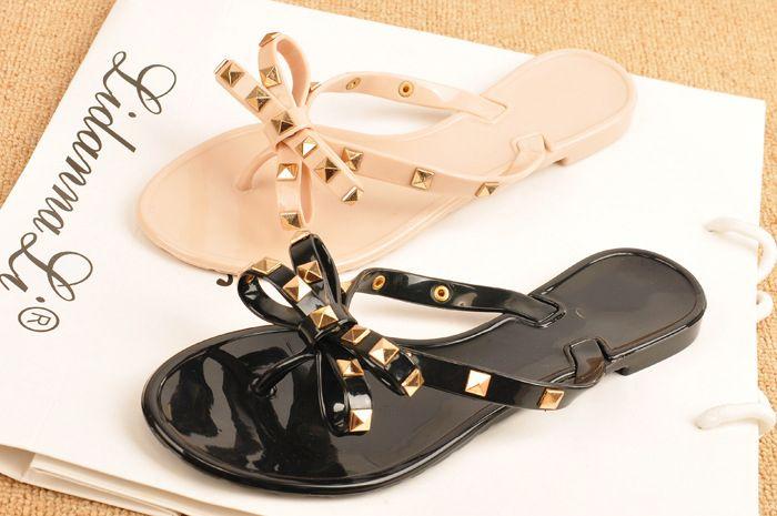 34fd1cdc9 Big Brand Womens Rivets Bowtie Flip Flops Jelly Thong Sandal Rubber Flat  Summer Beach Rain Shoes Comfortable Shoes Shoe Shops From Cnbizhelphotmail