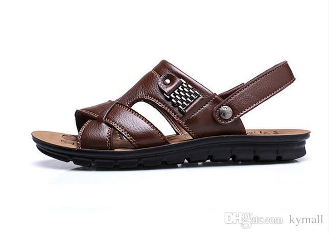 6e897ab2925e New With Box Summer Beach Shoes Mens Leather Sandals Slippers Leather First  Layer Of Leather Tendon Slip Tide Size US7 US9 Ig Flat Sandals Strappy  Sandals ...