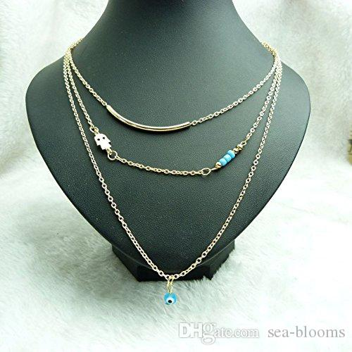 Fatima Hand Evil Eye Turquoise Beads Pendant Necklace Clavicle Chain Sweater Chain Long Necklaces Jewelry Gift G50L