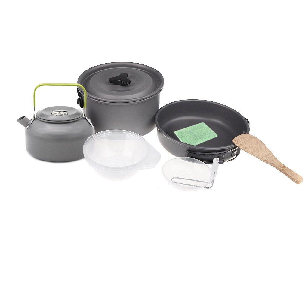 Camping Chef Kooktoestel.Outdoor Tableware Set Camping Kooktoestel Aluminum Oxide Pot Set Hiking Backpacking Cookout Picnic Teapot Coffee Kettle Set