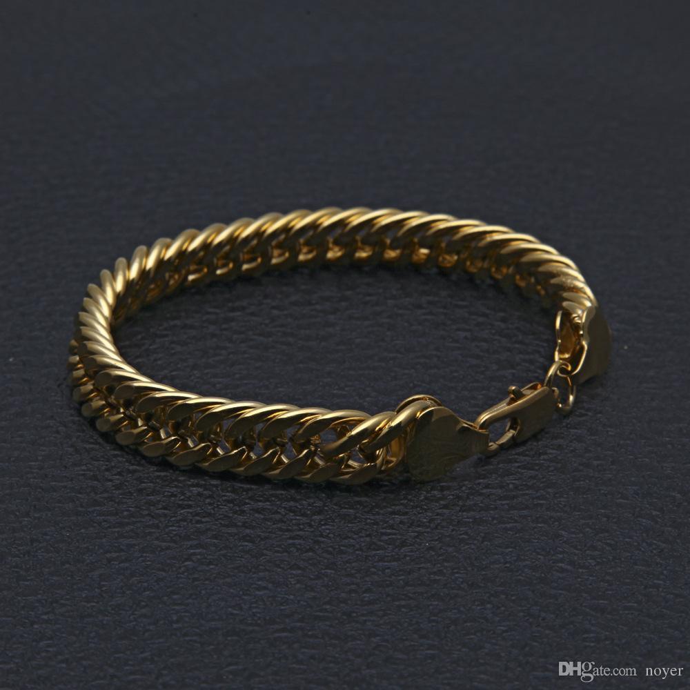 Мужские хип-хоп ювелирные изделия 10 мм позолоченные браслеты Европейский и американский стиль хип-хоп цепи браслеты аксессуары