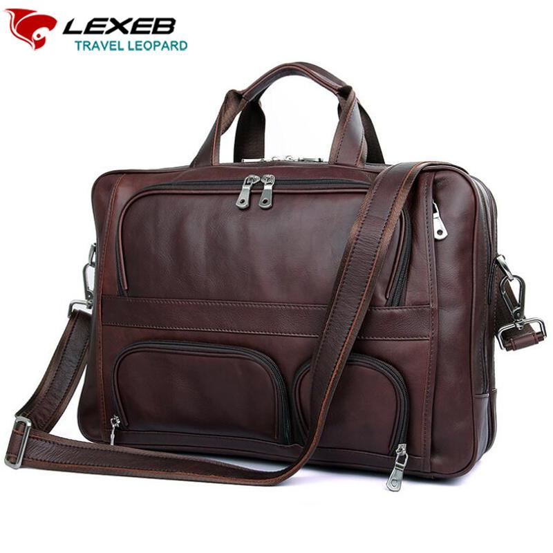 21e420f5fd7e Wholesale LEXEB Cow Leather Lawyer Briefcases Solid Men s 17.3 Inches  Laptop Bag Big Vintage Business Travel Bags 44cm Length Brown Mens  Briefcases Ladies ...