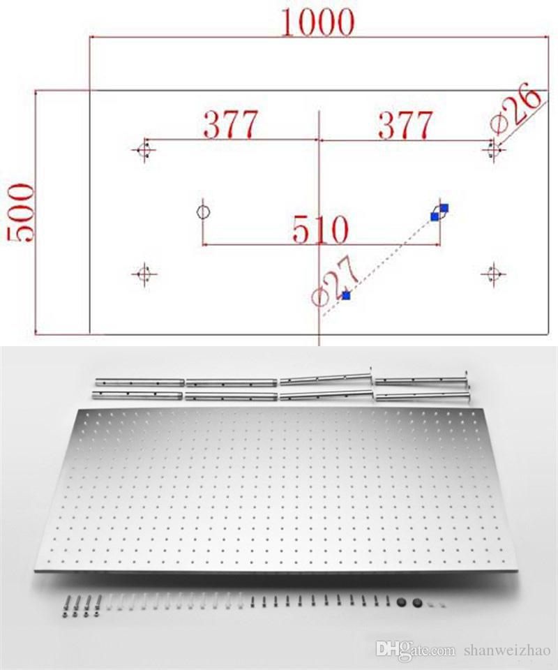 수력 전력 샤워 시스템 500 * 1000mm 3 색 변경 LED 비 샤워 4 가지 방법 온도 조절 샤워 믹서 세트