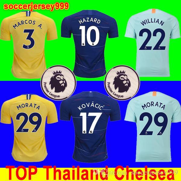 Compre Top Tailândia Chelsea Soccer Jersey Football Shirt Camisa De Futebol  2018 2019 HAZARD JORGINHO KOVACIC GIROUD KANTE Camiseta De Futebol Kit  Camisa 18 ... cc657a98cf0d6