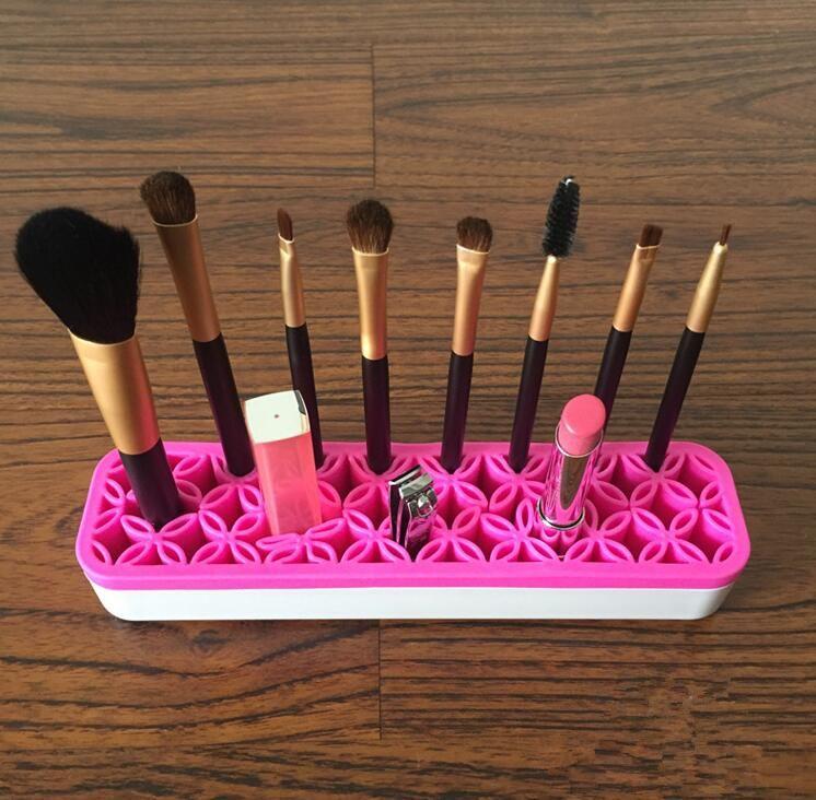 Escova De Maquiagem de silicone Caixa De Armazenamento Organizador Batom Escova De Dentes Lápis Cosméticos Escova Titular Suporte Multifuncional Compõem Ferramenta