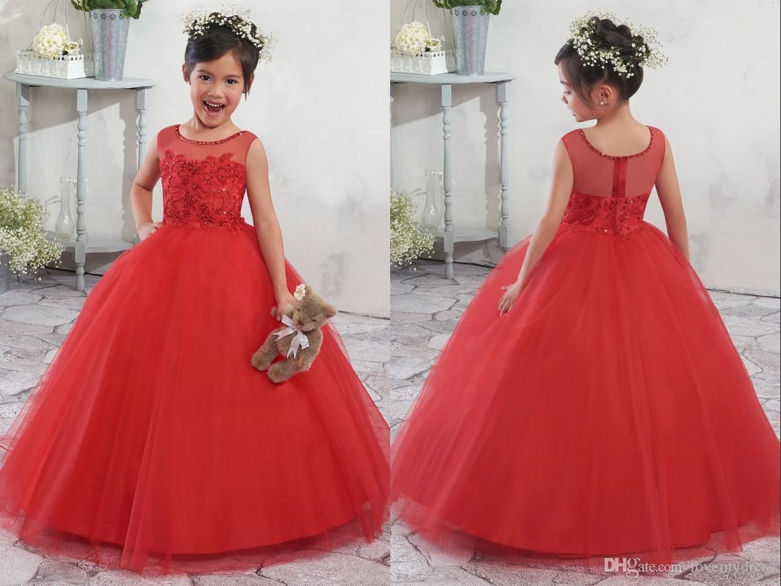 2018 Red Ball Gown Flower Girls Dresses Wedding Dresses For Kids ...