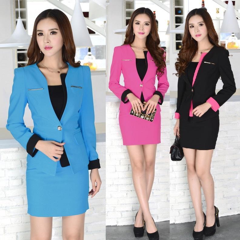 30c412f2a1 Wholesale-Formal Blue Blazer Women Skirt Suits Work Wear Sets Ladies ...