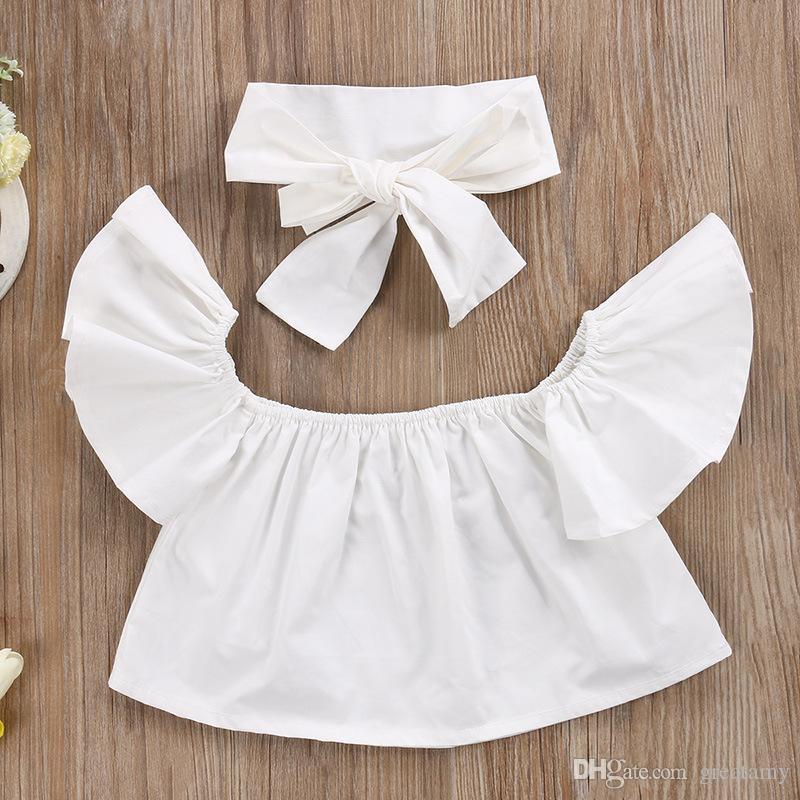 Neonate sveglie Nuovi bambini di modo Vestiti delle ragazze sopra le parti superiori superiori della spalla Bianco + foro Denim Pant Jean + Fascia / set
