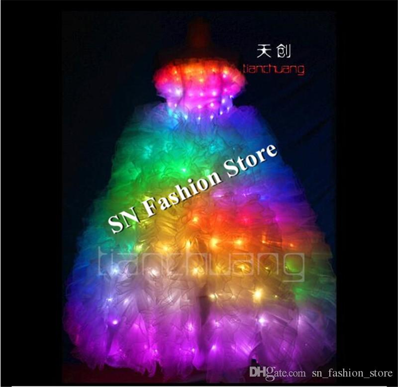 TC-21 Full color LED colorful light ballroom costumes led party RGB skirt wear dance ballet wedding bar dress cloth programmable performance