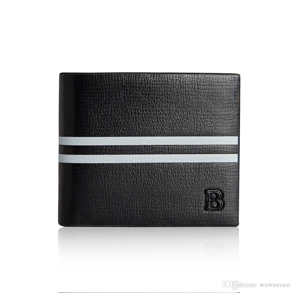 قصيرة محفظة ذكر رجل شريط جلد محافظ موجزة حرف B رسالة أسود لون القهوة R083