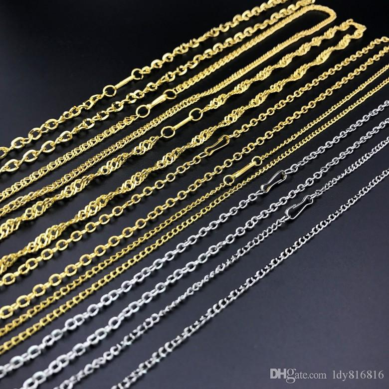 30 piece,Plating sand Gold Necklaces Cheap flattened chains Safety without stimulation Shining Imitation gold/Platinum Necklaces Small gift