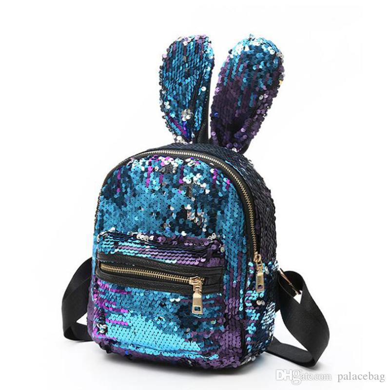 e1fe904439 Fashion Sequins Backpack For Girls Colorful Travelling Bags Cute Rabbit Ear  Bags Newest School Bags For Teenager Cool Backpacks Travel Backpack From ...