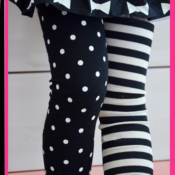 2016 New Arrival Kids Girls Dance Leggings Polka Dot Stripe Trousers Render Pants 1-9Y Wholesale