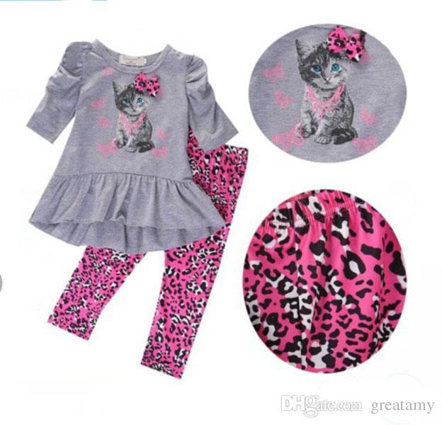 Recién nacidos niños bebés niñas ropa de otoño vestidos de la camiseta tops dress + leopardo pantalones 2 unids / set trajes niños niñas traje de moda