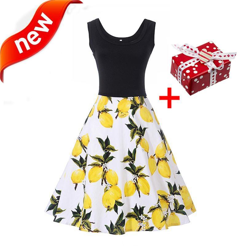 ef00de8e038 2019 Dresses Lemon Print Summer Dress 2018 Tank Flowers Cherry Leaves Women  Sundress Patchwork Tunic Plus Size Polka Dot Midi Dress From Odeletta