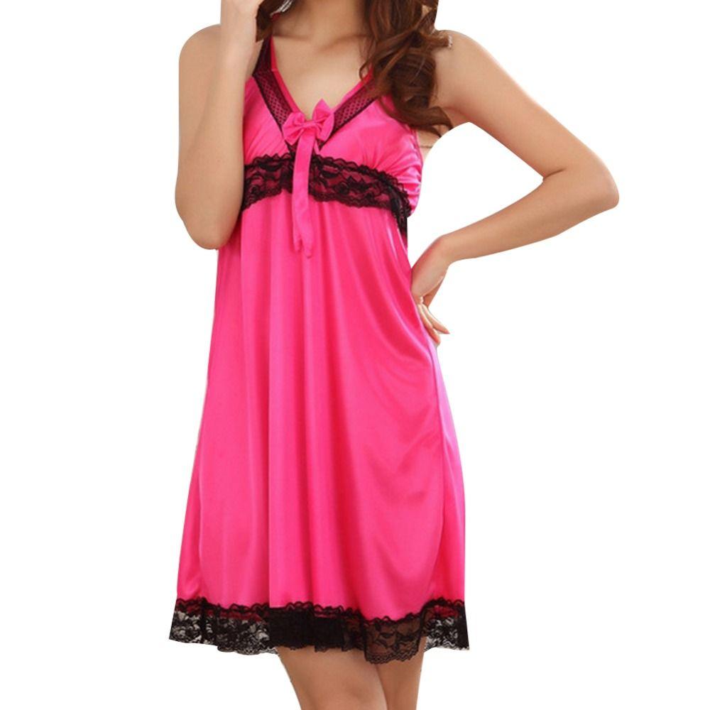Primavera Verão Mulheres Pijama Vestido Tentação Encantador Senhoras Sling Nighgown Sexy Silk Nightdress Lace Sleepwear Sem Mangas