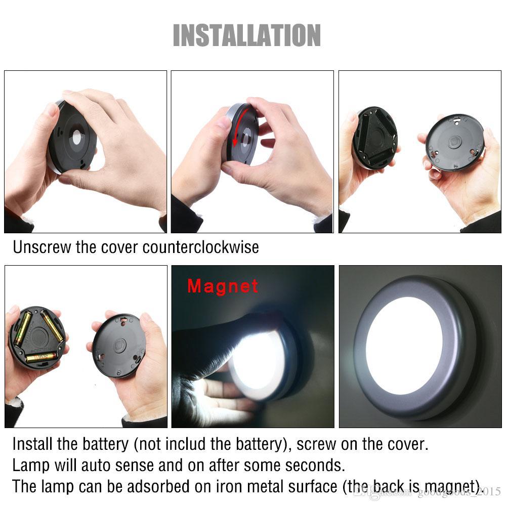 6LED PIR Body Motion Sensor Activated Wall Light Night Light Induction Lamp Closet Corridor Cabinet led Sensor Light battery c610