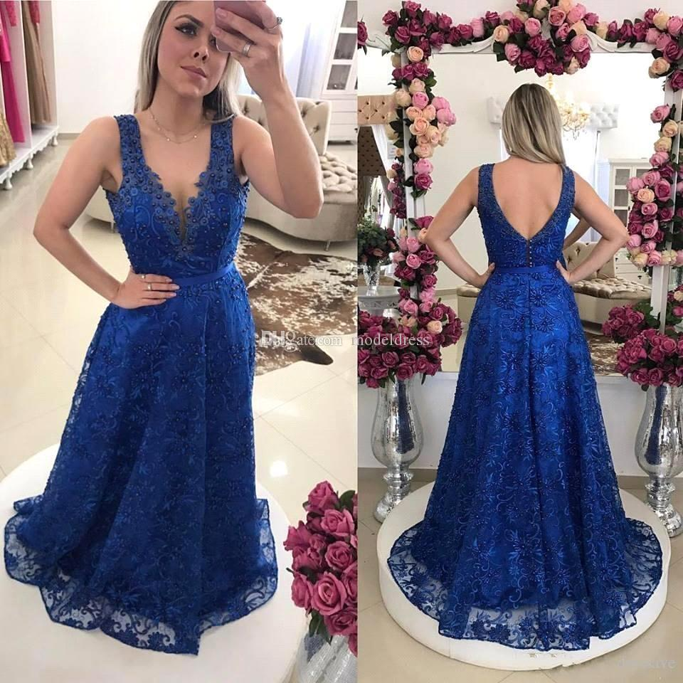 d0eac4cf1c58 Royal Blue Full Lace Prom Dresses Long 2018 V Neck Pearls A Line Backless  Sweep Train Arabic Evening Party Gowns Robes De Soiree Brown Prom Dresses  Cheap ...