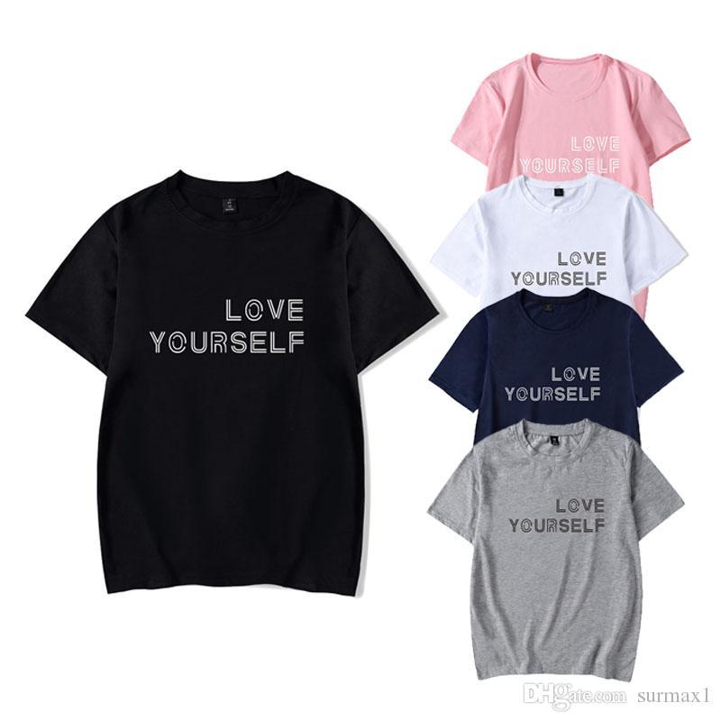Большой размер с короткими рукавами BTS Bangtan Boys фан-клуб последней печати нескольких цветов повседневная спортивная футболка большого размера пары одежды