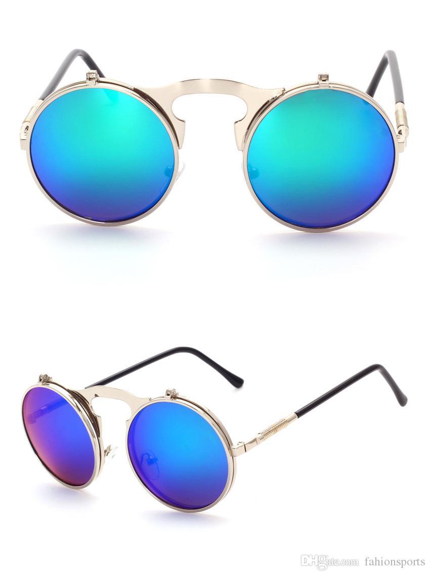 Gafas de sol de lujo VINTAGE Gafas de sol Round Flip Designer steam punk Gafas de sol de metal mujer Gafas retro CIRCLE SUN GLASSES