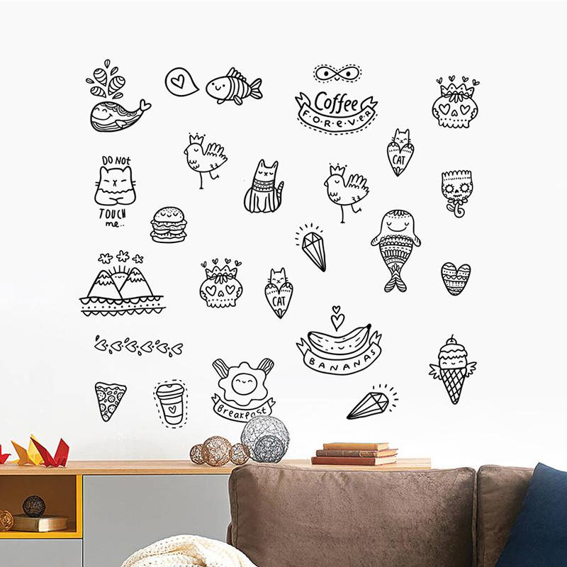 funny cats wall stickers for kids room decoration pvc mural diy