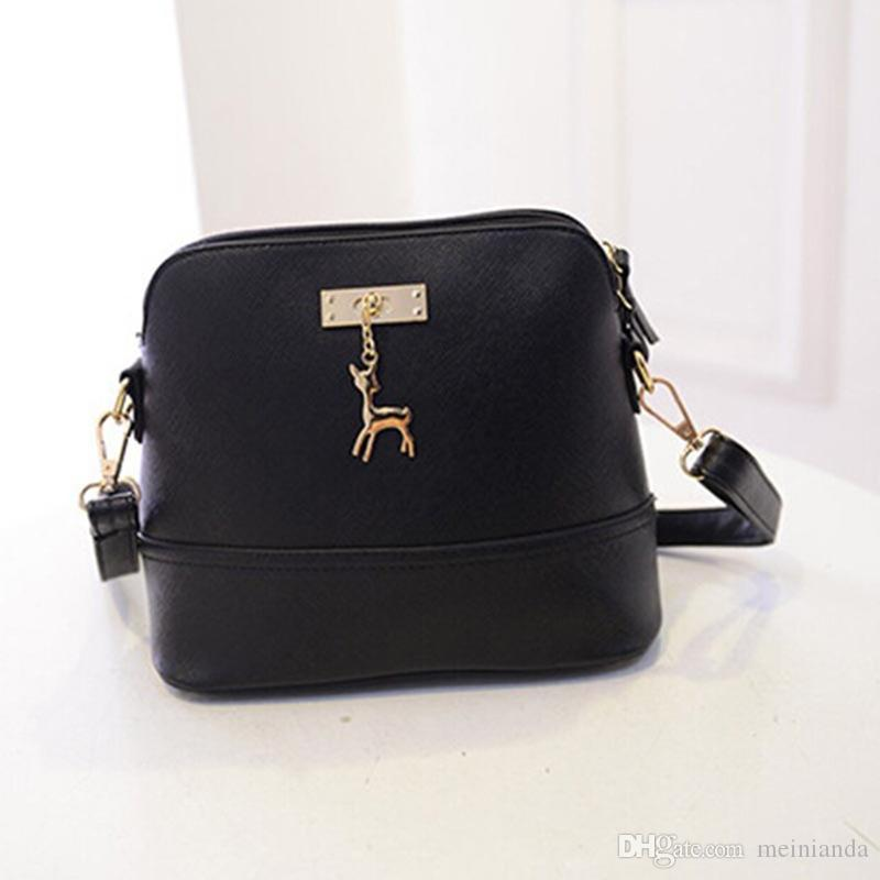 d875c9040b28 Vintage Nubuck Leather Women Bags Fashion Small Shell Bag With Deer ...