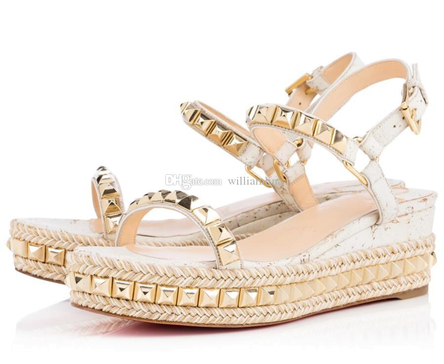 800e7d0212 Luxury designers sexy women cork white brand summer red bottom sandals  cataclou Wedges sandals with rivets wedding pumps woman shoes