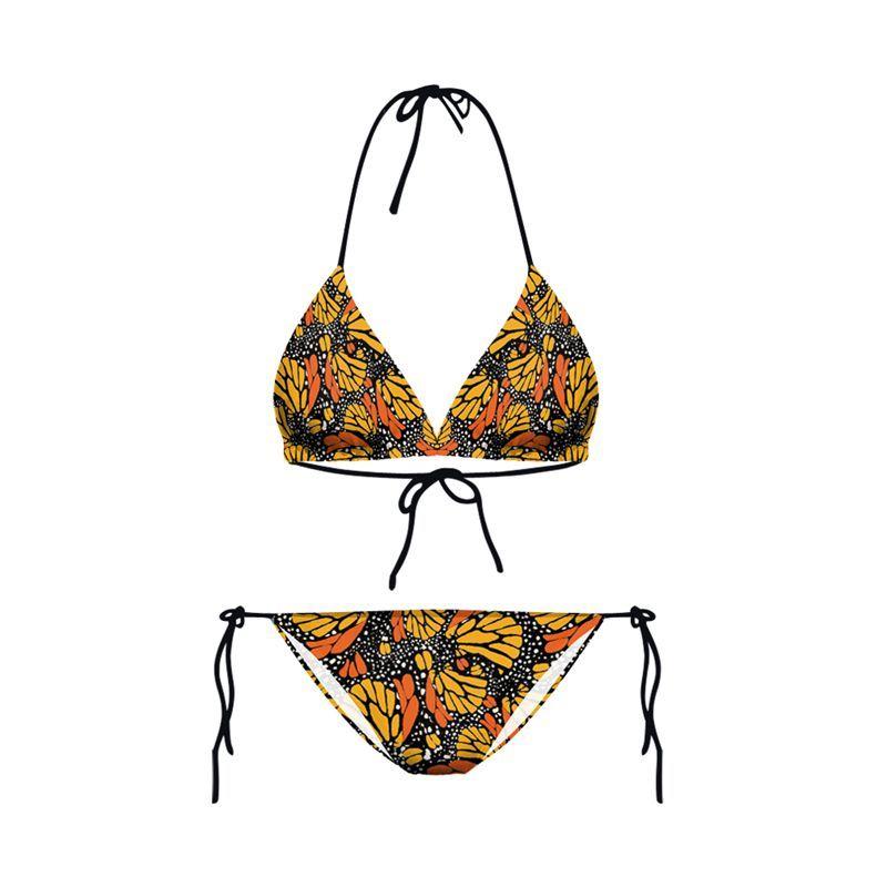 New Design Fashion Summer Orange Floral 3D Prints Sexy Girl Thongs Ropes Bikini Set Swimsuit Swimwear Women Bathing Suit