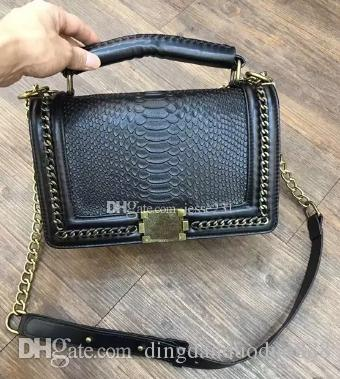 6bd8063ad7c 2018 Classic Brand Leather Black Gold Chain Hot Sell New Women Bags ...