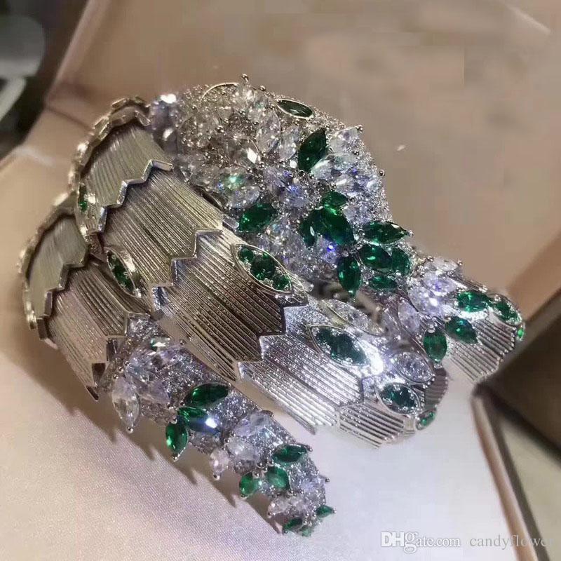 Новый дизайнер высокое качество 2 обруча CZ с бриллиантами вымощен животных манжеты браслет браслет 18-каратного золота PUNK ювелирные изделия для женщин