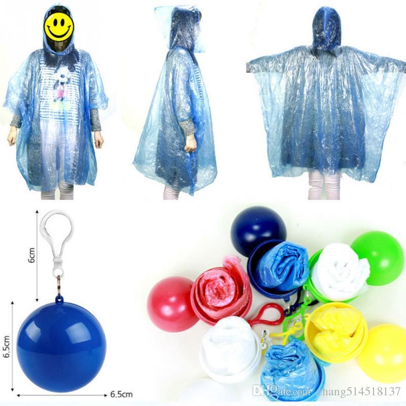 Portable Raincoat Women Men Outdoor Rainwear Waterproof Disposable Camping Hooded Ponchos Plastic Keyring Ball Rain Cover