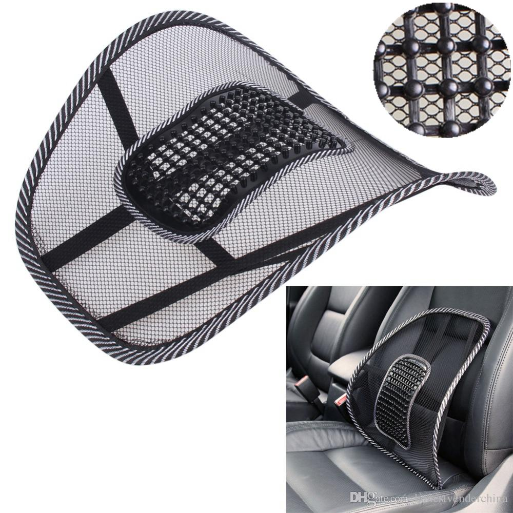 Black Mesh Cloth Car Seat Cushion Lumbar Waist Support Pillow Automobiles Office Chair Relief Back Pain Auto Accessories Cover