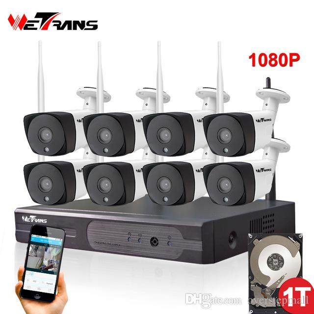 8CH CCTV Camera System Wireless 1080P HD Plug Play 20m Night Vision P2P  Waterproof Home Security Wifi Outdoor IP Camera System