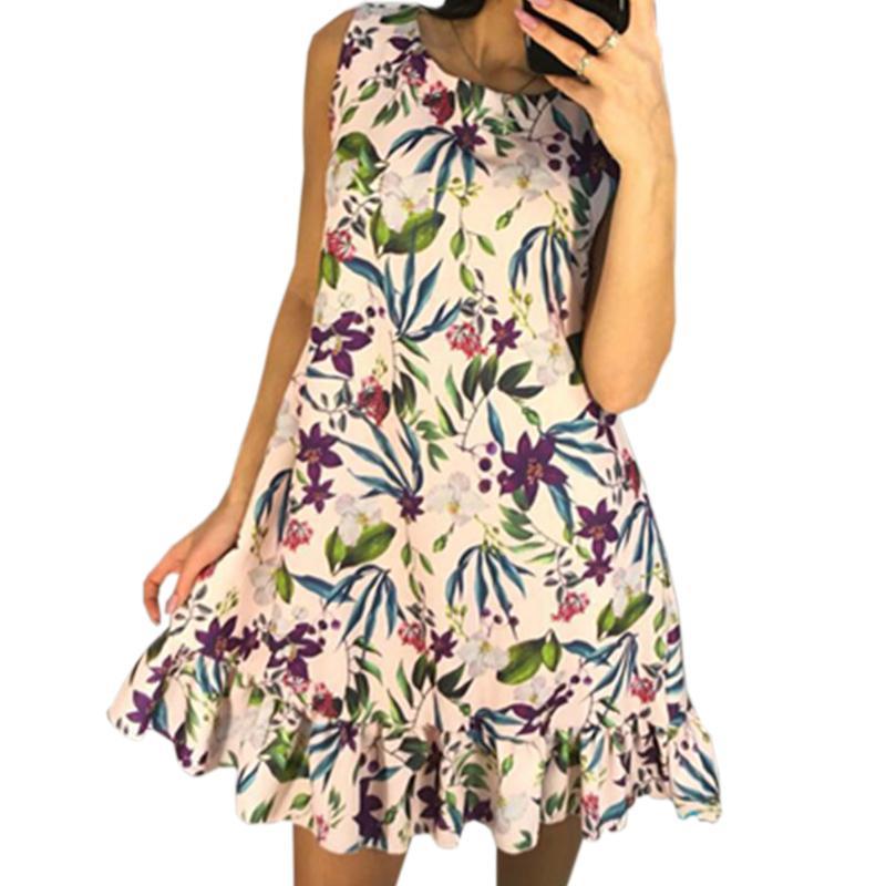 1ba8f42652a7 Boho Summer Dresses 2018 New Floral Dress O Neck Sleeveless Printed Mini A Line  Dresses Ruffles Women Sundress Plus Size GV030 Cute Sundress Yellow T Shirt  ...