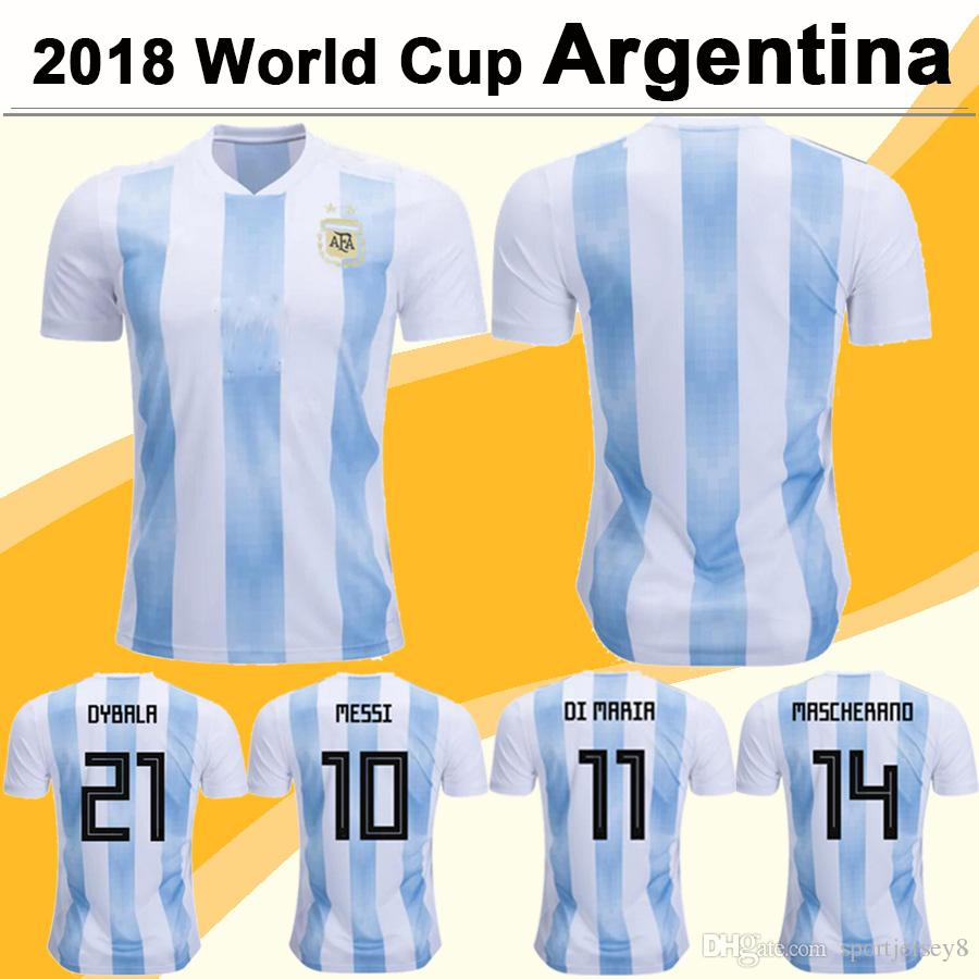 2018 Coupe du Monde Maillots de Football Argentine MESSI Mens Home Football Jersey DI MARIA Équipe Nationale Indirect Bleu et Blanc Court Maillots de Football