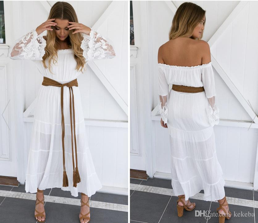 Women S Sexy Word Shoulder Chiffon Lace Dress Hollow Transparent Beach  Skirt For Foreign Trade White 6 Yards Short White Dresses Dress Styles From  Kekeba e0a44b65c