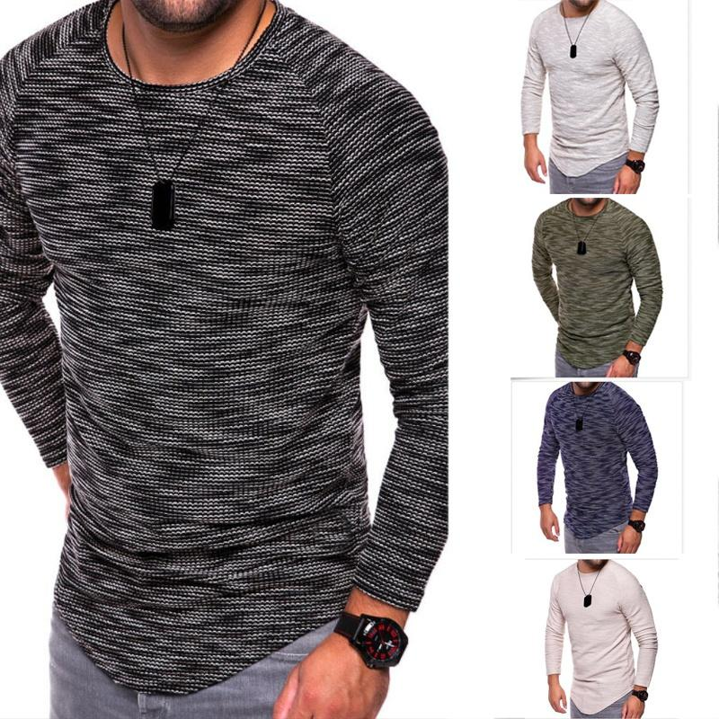 587ecea8df9 Mens Fashion Slim Fit Bottoming Pullovers Male Long Sleeve O Neck  Comfortable Chemise Homme Solid Color Cotton Casual T Shirts Interesting T  Shirts T Shirt ...
