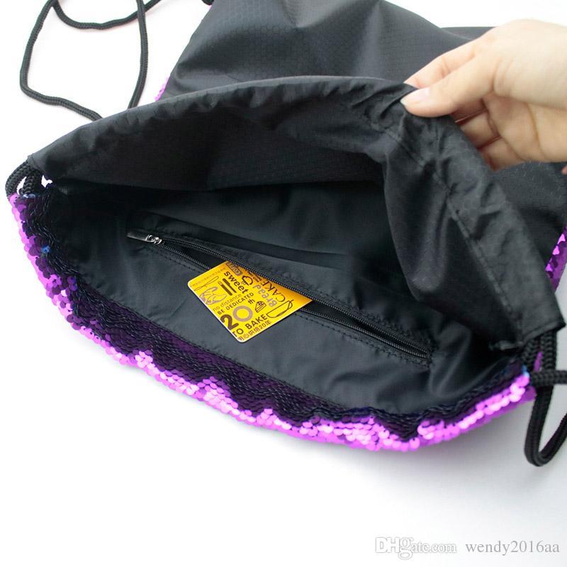 Mermaid Sequins Women Backpack Glitter Drawstring Bag Cotton School Bag For Teenager Girls Summer Beach Nylon Bag Daypack
