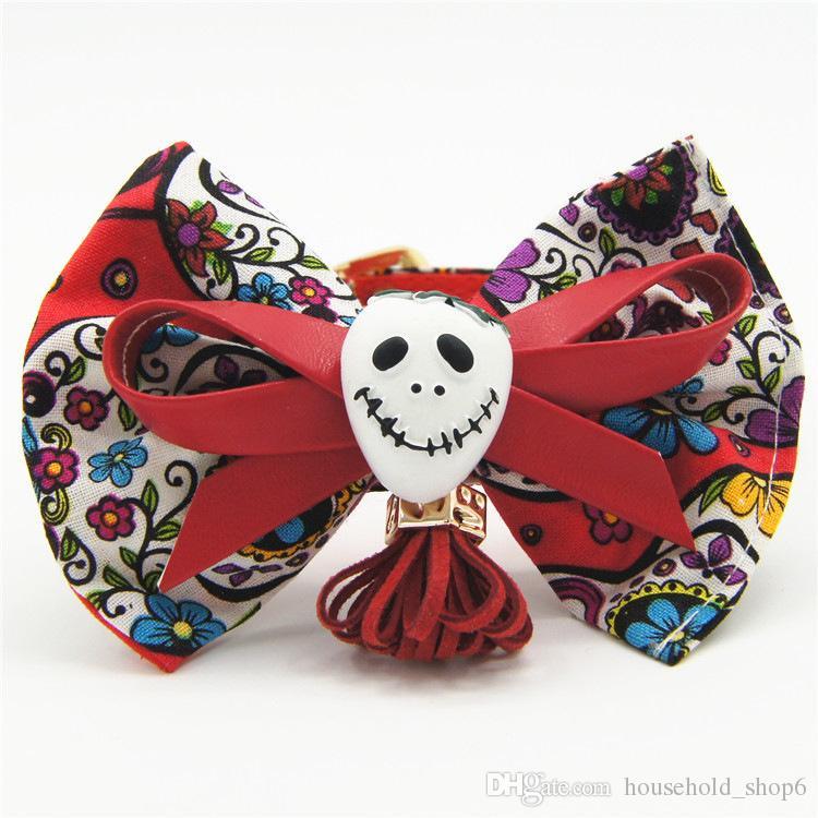 Pet Skull Serise Collar Cloth Necklace Cat Bow Tie Puppy Human Skeleton Leash Collar Size M