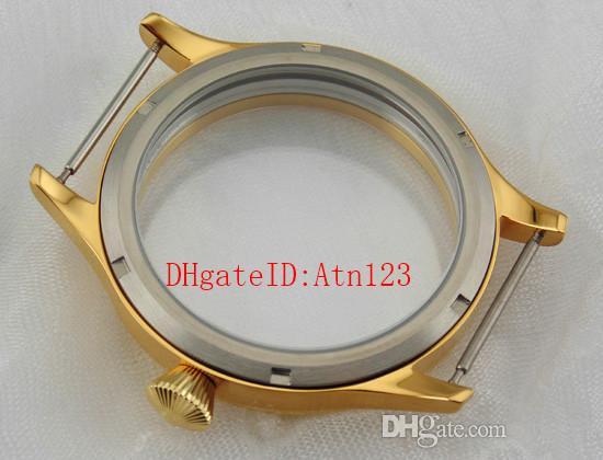 45mm Sapphire Glass Stainless Steel Gold Wrist Watch Case Wristwatch Case Fit ST3600/3620 ETA 6497/6498 ETA6497/6498 Movement P401