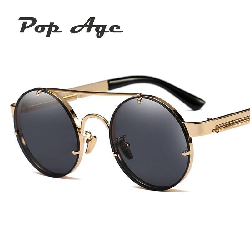 d6cea17b175 Pop Age Newest Best Quality Round Steampunk Sunglasses Men Mirror Women Sun  Glasses Spring Legs Eyeglasses Oculos De Sol 400UV Round Sunglasses Cheap  ...
